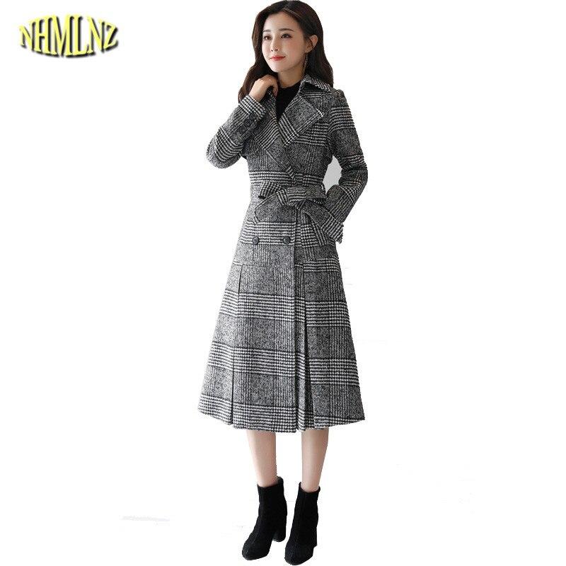 2019 Wun457 Gray Mince Élégant Longues Breasted Manches Mode Nouvelles Collier Double down Veste Manteau De D'hiver Turn Long Femmes Laine rrgqU