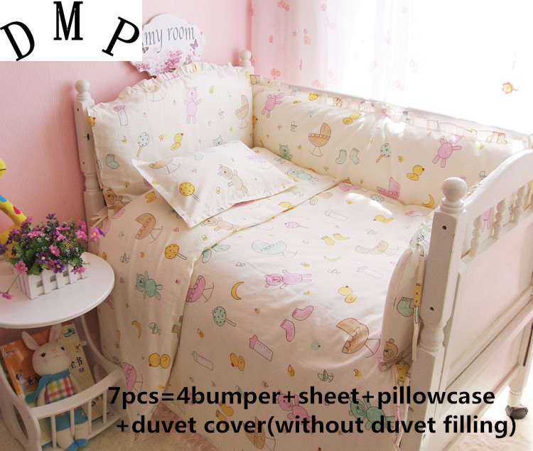 Promotion! 6/7PCS baby crib bed linen 100% cotton baby bedding set baby girls and boys  120*60/120*70cmPromotion! 6/7PCS baby crib bed linen 100% cotton baby bedding set baby girls and boys  120*60/120*70cm