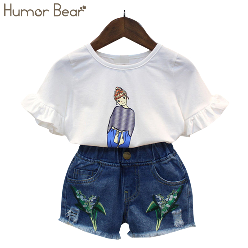 Humor Bear 2018 New Grils Clothes Summer Style little girl Grid T-shirt+ Shorts Children Clothing Set Kids Clothes Girls Sets humor bear baby clothes girl clothes 2018 brand girls clothing sets kids clothes children clothing toddler girl tops pant 2 6y