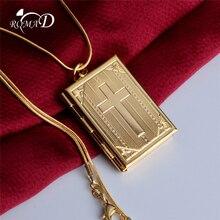 fb4b95fd45d2 ROMAD marco de foto medallón colgante y Collar para hombres y mujeres de la  Cruz collar de oro collar de cadena de serpiente Chr..