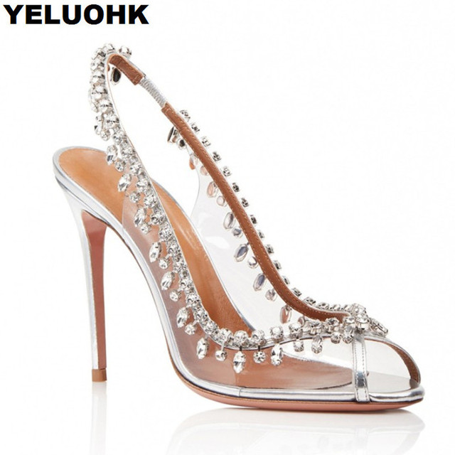 eed69b3fcda8 Brand New Sexy High Heel Women Sandals Rhinestone Wedding Shoes For Women Transparent  Shoes Pumps Dress Open Toe Summer Shoes