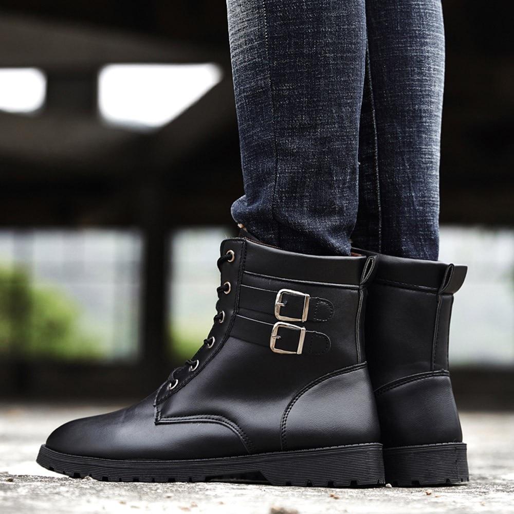 Chaud Boucle Hommes Bottes Noir Outillage Botas Chaussures Cheville marron  Ceinture Zapatos Travail Sport 71 De ... 95e46e16700