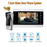 7 Inch Monitor Video Doorphones Intercom Recording 1 Camera 1 Monitor HD 1200TVL Rainproof Door Bell