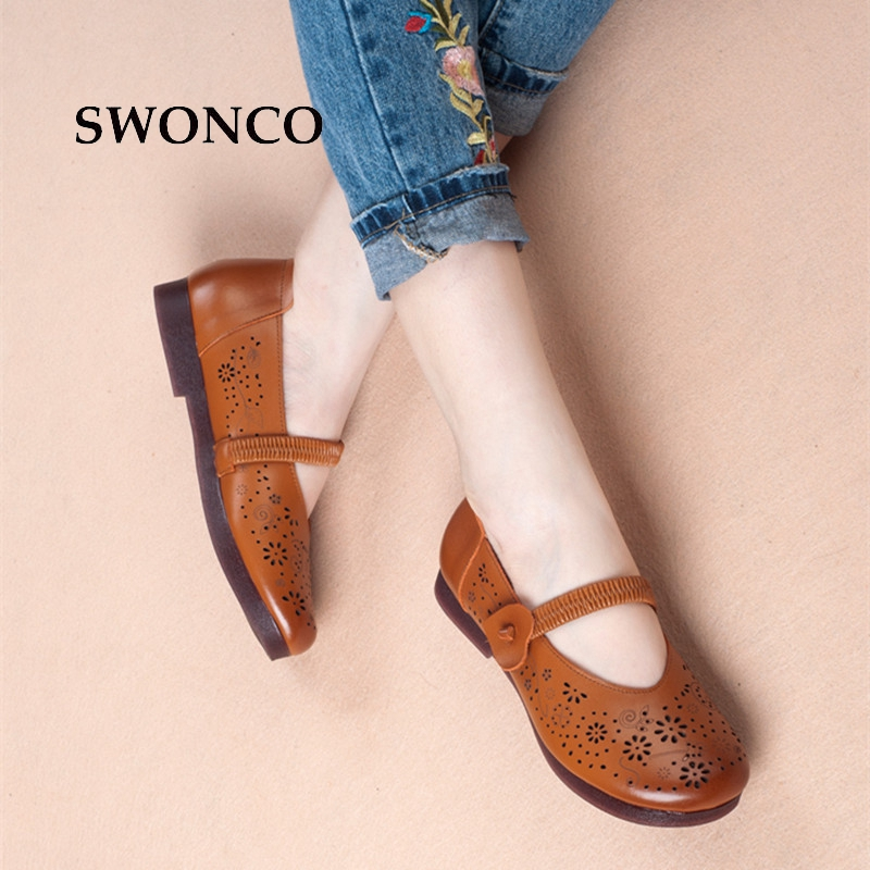 SWONCO Women's Sandals 2018 Summer Genuine Leather Retro Ladies Shoes Women Sandals Flat Casual Mother Shoes Non-slip Woman Shoe timetang mother sandals soft leather large size flat sandals summer casual comfortable non slip in the elderly women s shoes