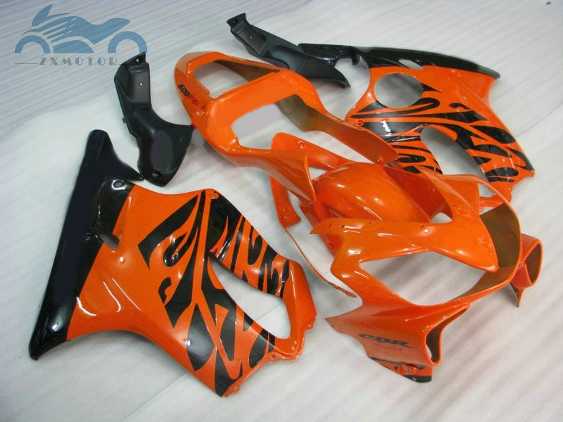 Free Customized ABS aftermarket fairings set for CBR 600F4i 01 02 03 fairing kits <font><b>CBR600F4i</b></font> 2001 2002 2003 orange black <font><b>parts</b></font> image