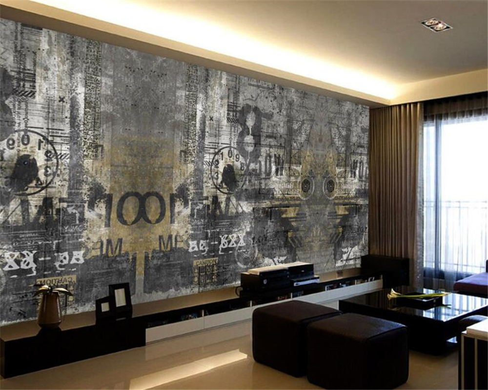 Beibehang Custom 3D Wallpaper Mural Retro Background English Cement Graffiti Photo Wallpaper papel parede papel mural wallpaper