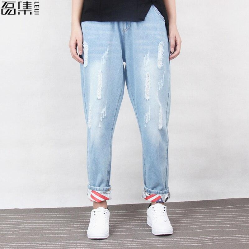 Ripped   Jeans   Woman Cotton Harem Plus Size Ankle length Denim Pant 5xl6xl