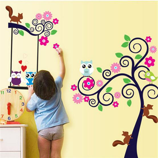New cute owl on branch squirrel tree and swing love wall sticker kid ...