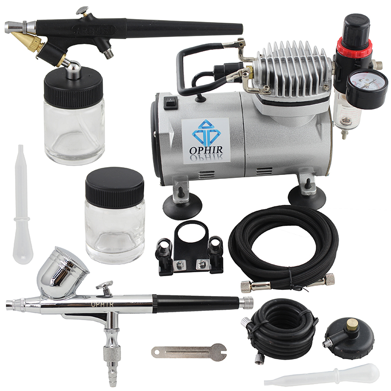 OPHIR 0.3mm Dual & 0.8mm Single Action 2-Airbrush Air Compressor Kit for Hobby Tattoo Cake Decoration_AC043+AC071
