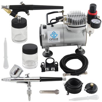 цена на OPHIR 0.3mm Dual Action  0.8mm Single Action Airbrush Kit Air Compressor for Makeup Cake Decorating Wall Paint_AC089+AC004+AC071
