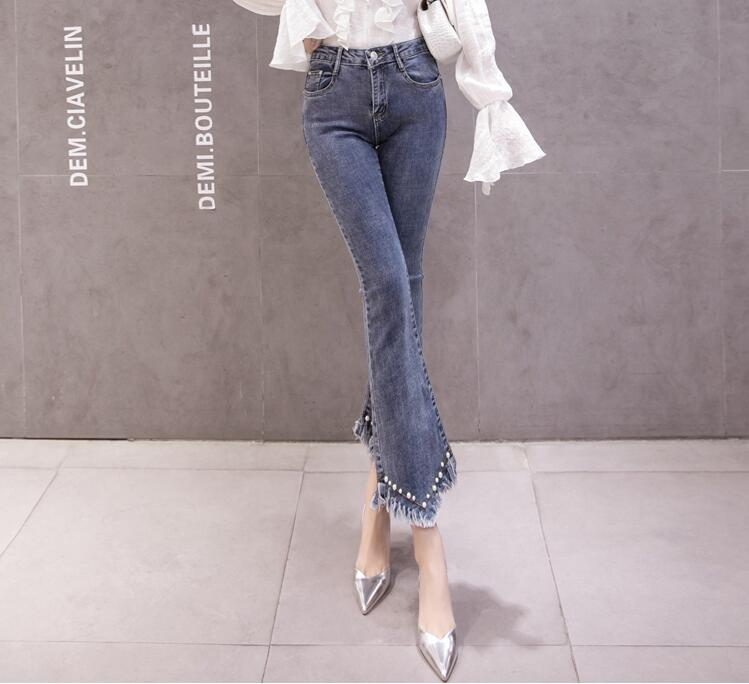 High Waist Women Jeans Flare Pants Tessal Bead Slim Fashion Pants High Waist High Elastic Ankle-Length Denim Trousers 16