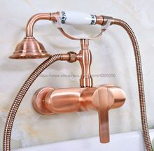 Antique Red Copper Bath Faucets Wall Mounted Bathroom Basin Mixer Tap With Hand Shower Head Bath & Shower Faucet Bna319