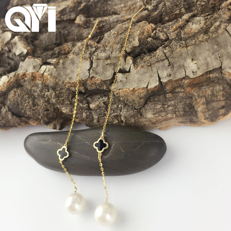 QYI Fashion 18K Yellow Gold Natural Cultured Freshwater Pearl Drop Dangle Earrings Four Leaf Clover Earrings for Women Girl купить в Москве 2019