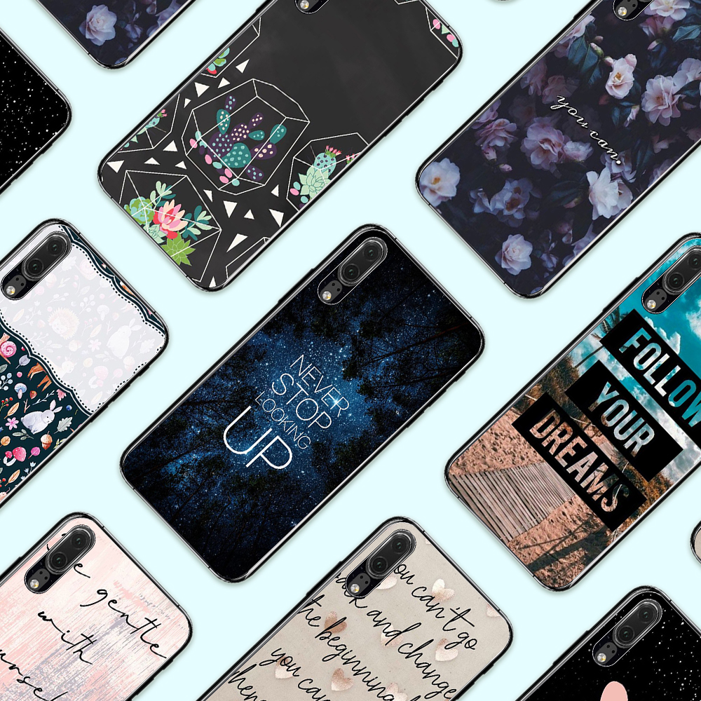 Eleteil Flower Printed Case For Huawei P10 P10 Lite P20 English Alphabet For Huawei P20lite P20 Plus Pro Silicone Back Cover E40 Limpid In Sight Fitted Cases