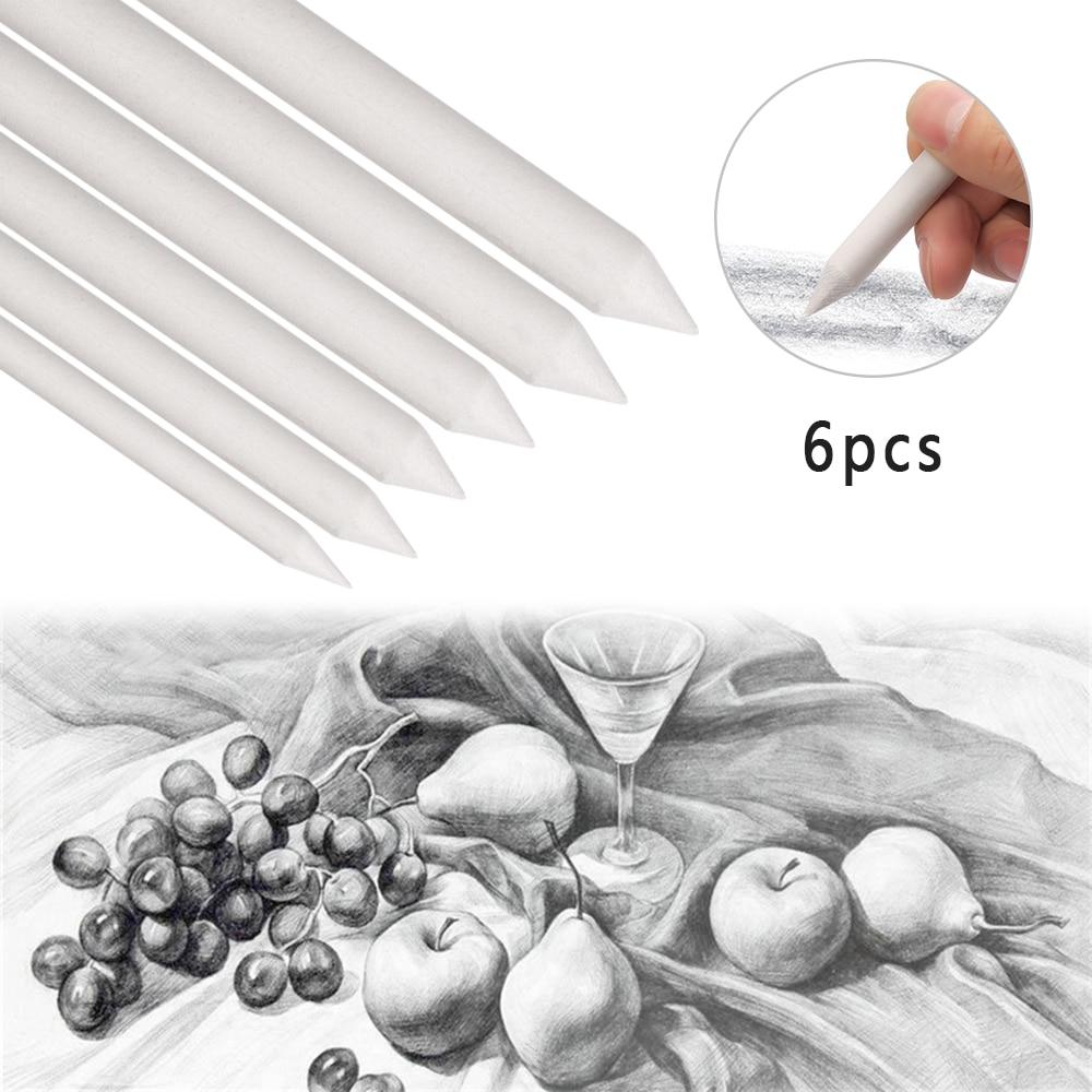 6pcs Sketch Pen Blending Smudge Stump Stick Tortillon Sketch Art Drawing Pen Sketch Paper Sandpaper Pencil Sharpen Drawing Tool