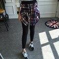 Estilo de otoño e Invierno Mujeres Casual Leggings Punky Gótico Falso de Dos Piezas Falda Pantalón Culottes A Cuadros Blusas Falso Calcas