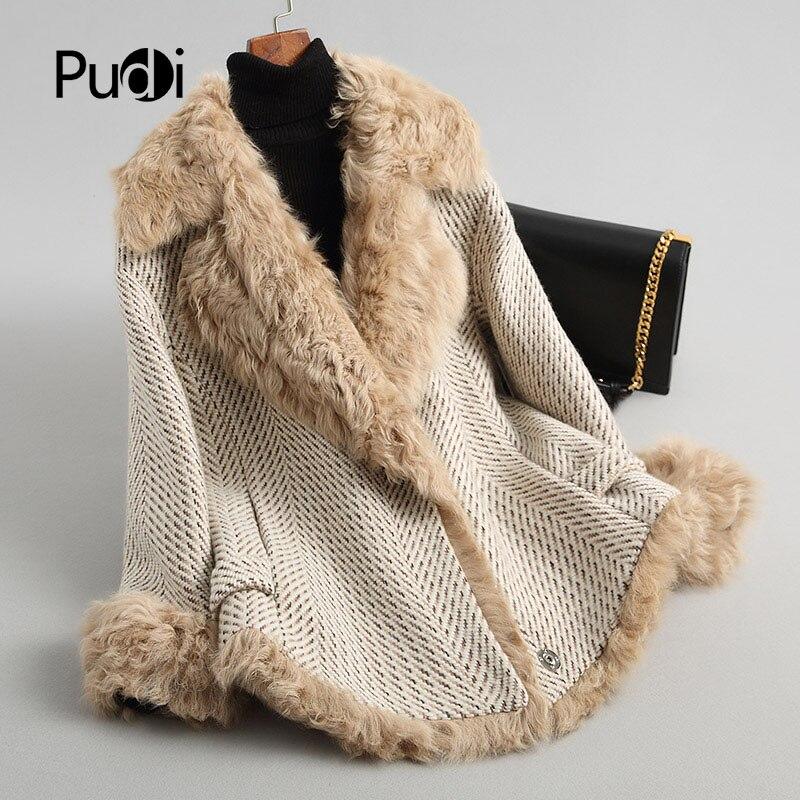 PUDI A68246 Настоящее полиэстер парка куртка пальто женские зимние норки воротник овечьей шерстью теплая куртка 2018 осень зимняя куртка
