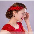 Red Bridal Veil Wedding Accessories Flower Crystal Handwork Brides Accessories Headwear With Hair Pin Hairband Bride Married