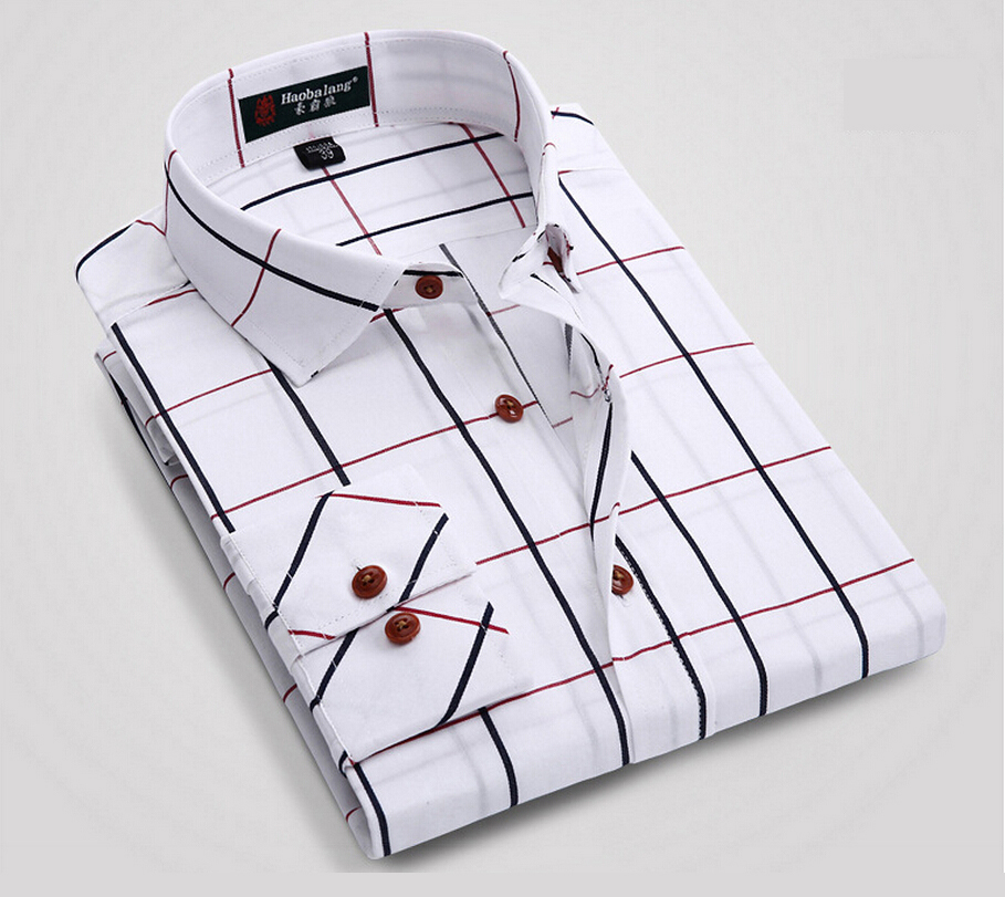 8d4bb1734ab 2015 Mens Plaid Shirt 100% Cotton Long Sleeve Colorful Linen Checked  Striped Brands Famous Summer Business Style Shirt Men Cloth-in Dress Shirts  from Men s ...