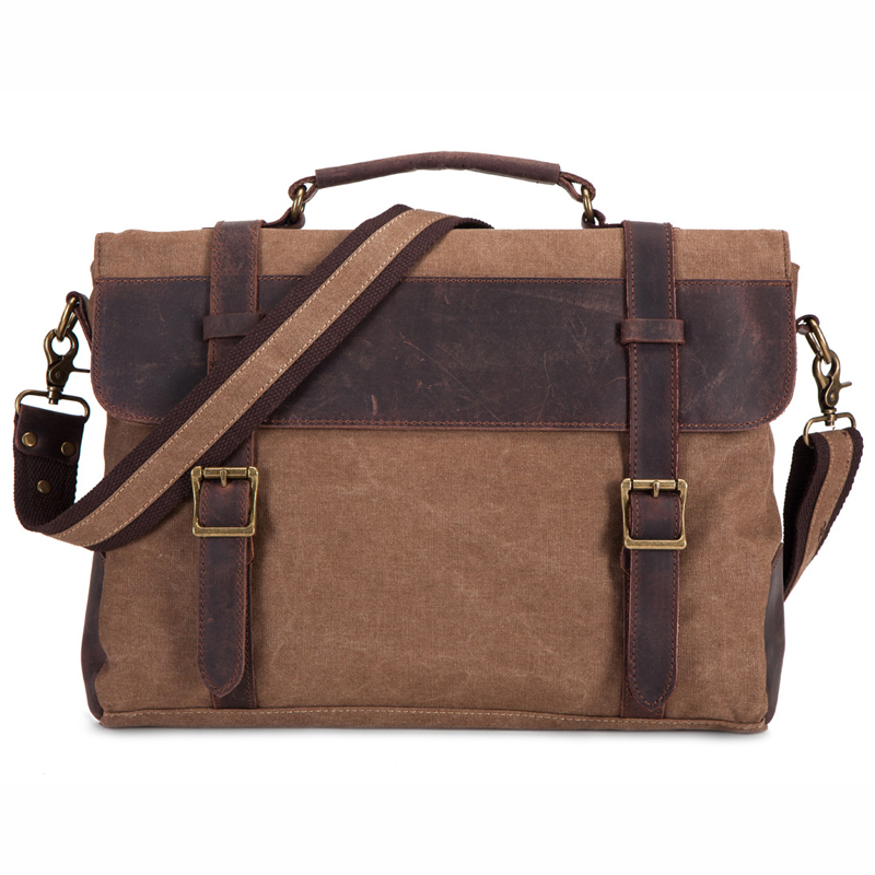 Genuine leather&Canvas Retro Men's Briefcase Handbag Business Shoulder Messenger Bag 14 Laptop Notebook Bags