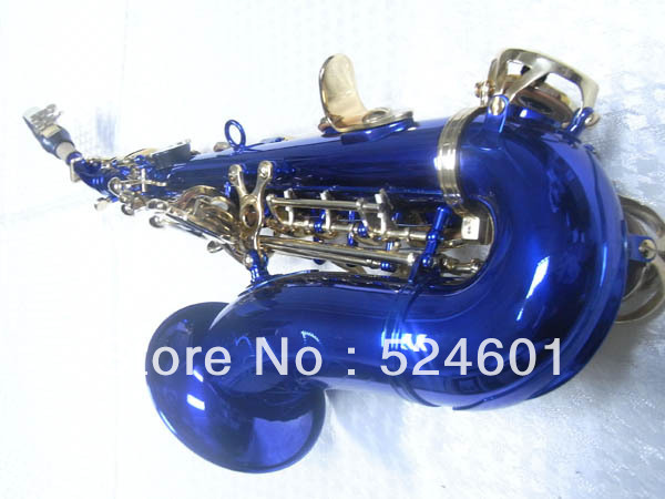 Wholesale small bend soprano font b saxophone b font in B flat blue body golden key