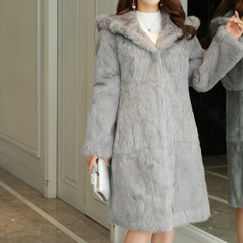 2019 TONFUR Classical Natural Real Rabbit Fur Long Coat With Fur Hood And Warm For Winter Plus Size 7XL Fur Overcoat Sr430