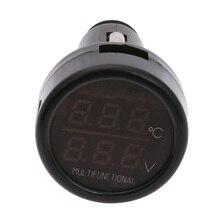 Car Charger 2.1A Phone Charger 12V/24V Digital Voltmeter Thermometer Cigarette Lighter Charger For Mobile Phones Tablets ME3L