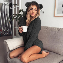 Helisopus Autumn and Winter Plush Long Sleeves Jumpsuit Solid Color Lady Cute Shorts Rompers Women Hooded