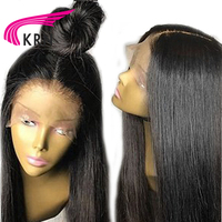 KRN Pre Plucked Full Lace Wig With Baby Hair 130 Density Remy Straight Brazilian Human Hair Wigs For Women Light Bleached Knots