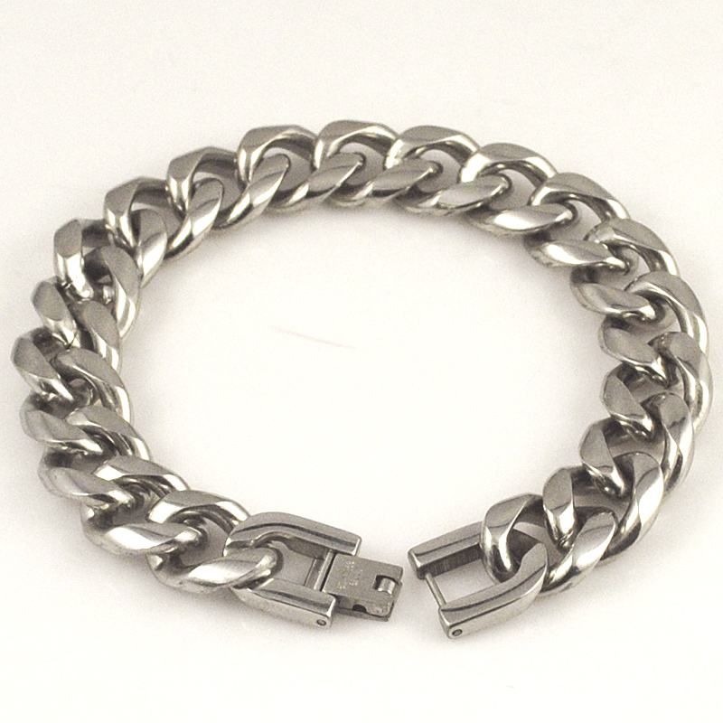 Punk Party Rock Style Fashion Stainless Steel Polished Retro Pop Circle Chain Link Charm Bracelet Men Jewelry AB054