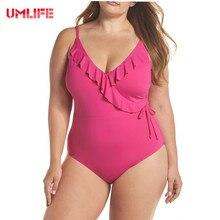 UMLIFE 4XL Sexy Female Womens Bikini Swimming Costume Ruffles Backless One Piece Swimsuit Monokini Swimwear Beachwear