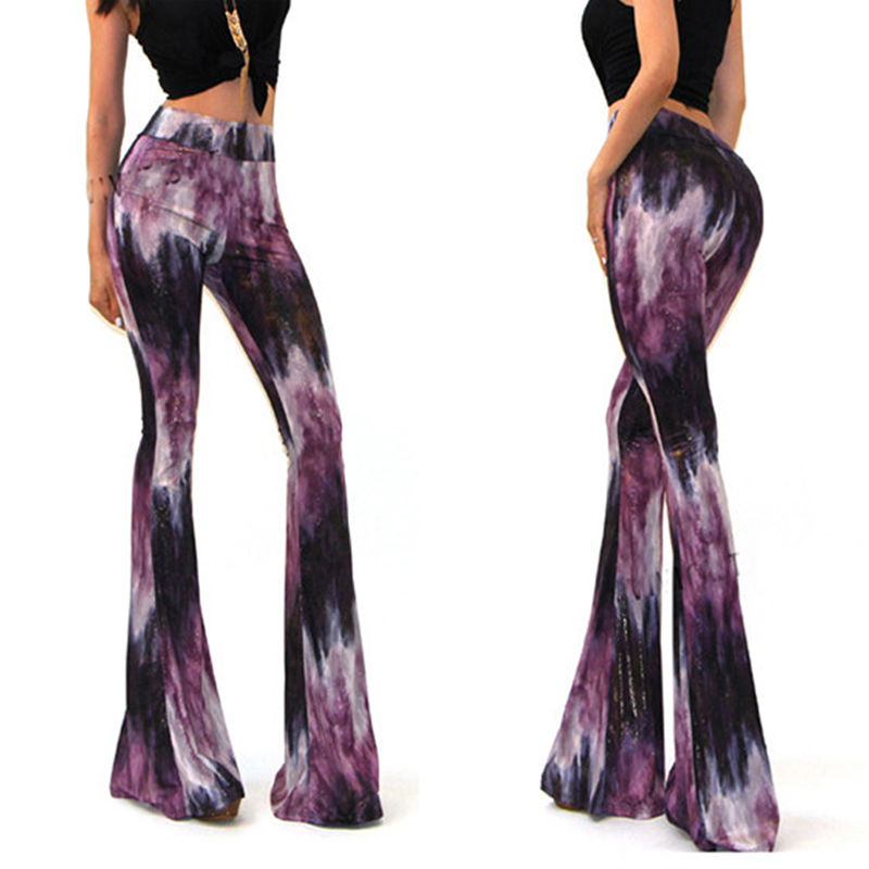 d0d50de876 Detail Feedback Questions about Fashion Women Sexy Bell Bottom Long Tie Dye  Flare Stretch Boho Hippie Pants Women Summer Trousers on Aliexpress.com ...