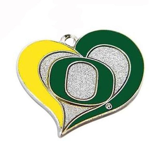 5pcslot Ncaa Oregon Ducks Swirl Heart Logo Charms Heart Pendant In