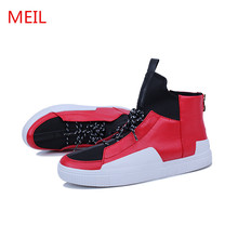 Black High Top Sneakers Men Trainers Elevator Casual Shoes Flat Chaussure Homme Zapatillas De Hombre Mens Red Sneaker