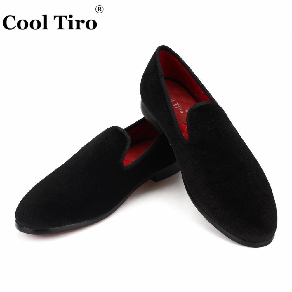 Cool Tiro Men Loafers Black Velvet Dress Shoes Smoking Slippers Casual Shoes Party Wedding Prom Formal