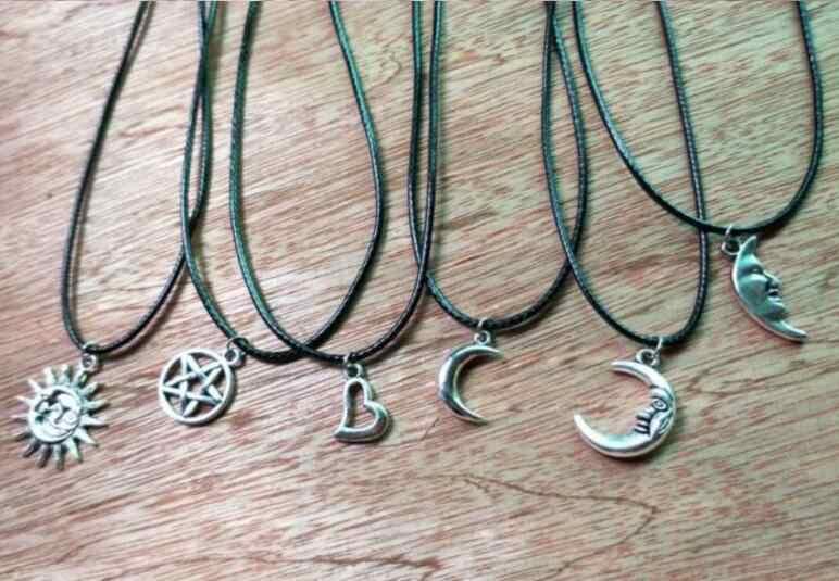 Vintage gothique cuir corde collier en alliage métallique géométrique rond à cinq branches étoile lune ailes pêche en forme de coeur pendentif collier