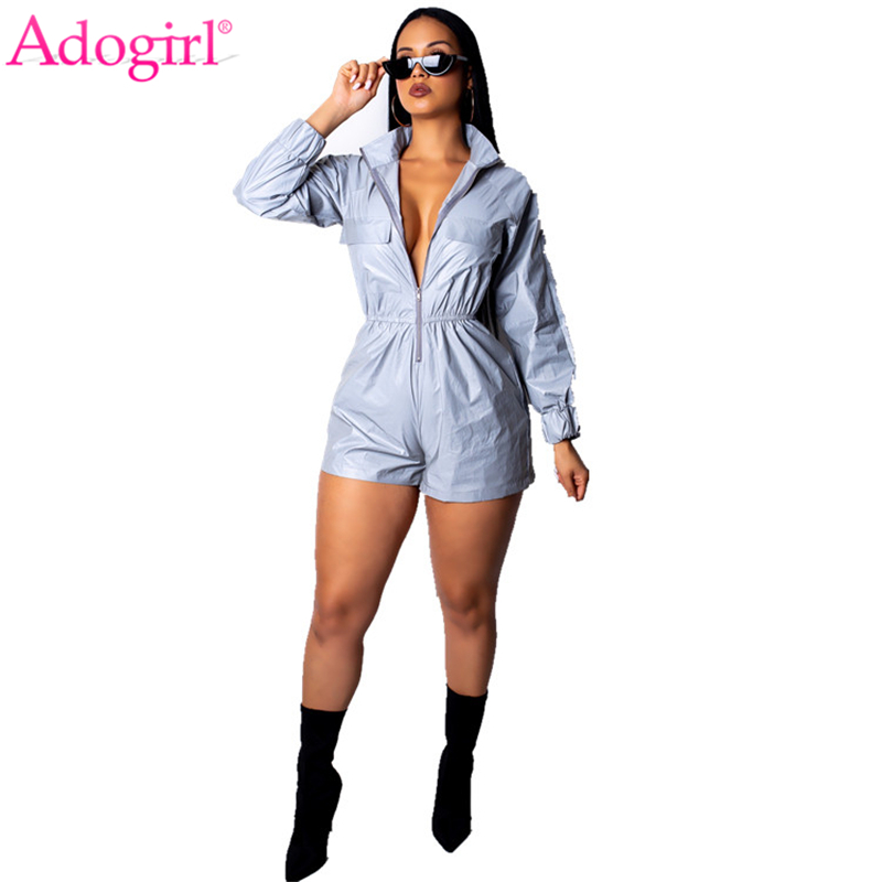 9da348a1d6 ... Fashion Reflective Jumpsuit Zipper Stand Collar Long Sleeve Shorts  Romper Casual Overalls Women Night Version Playsuit on Aliexpress.com