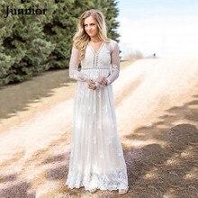 JUNNIOR Women Elegant Lace Mesh Dress Sexy See-through Long Sleeve V-neck  Maxi c985c367e42b