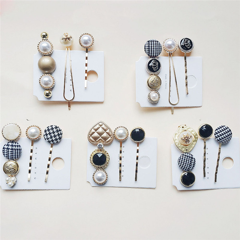 3 Pcs/Set Popular Metal Pearl Hair Clip Barrettes Irregular Acetate Bangs Women Girls Hair Pin Stick Hair Styling Accessories