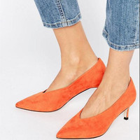 2018 spring sexy small size Women shoes Thin heels Silver Orange pointed toe high heels women pumps obuv
