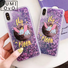 Cartoon Moon Dumbo Elephant Liquid Cover for huawei P30 Pro P20 Lite P10 Plus Nova 4 3 3e 3i 2 2S 2i P Smart 2019 Mate 20 20X(China)