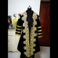 D 334 мужской черный Викторианский/Civil War мужской период средневековый костюм Ренессанс сценическое представление/принц очаровательный Виль
