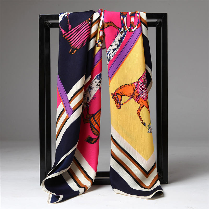 Fashion 100% Twill Print Square   Scarf   High Quality Silk Head   Scarves   Soft Shawl   Wrap   Luxury Brand Hijab 100*100CM