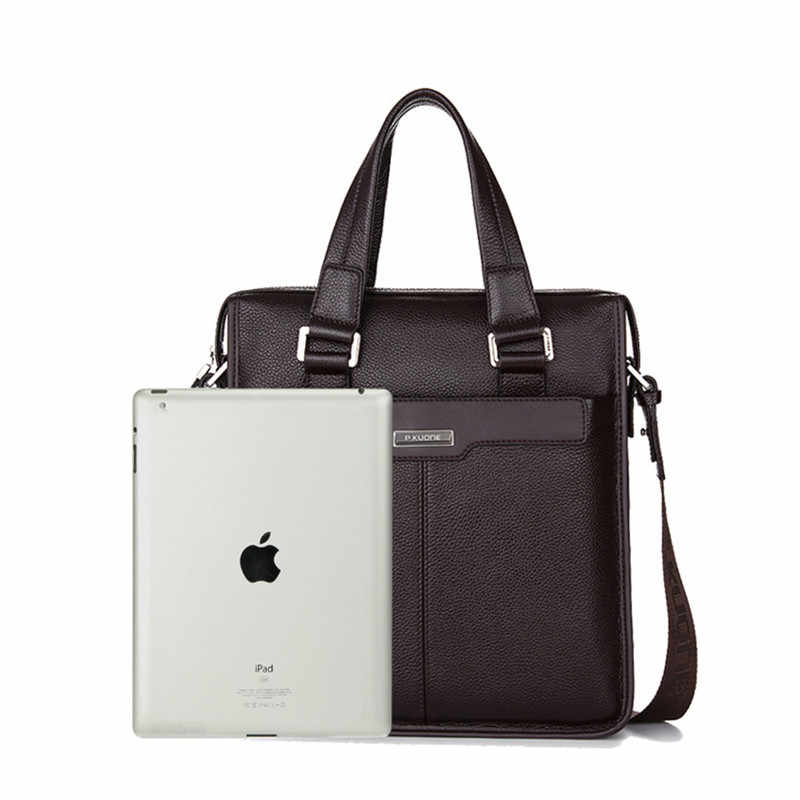 P. KUONE Мужская сумка из натуральной кожи дизайнерская модная деловая Мужская Портфель 2018 брендовая Высококачественная сумка через плечо
