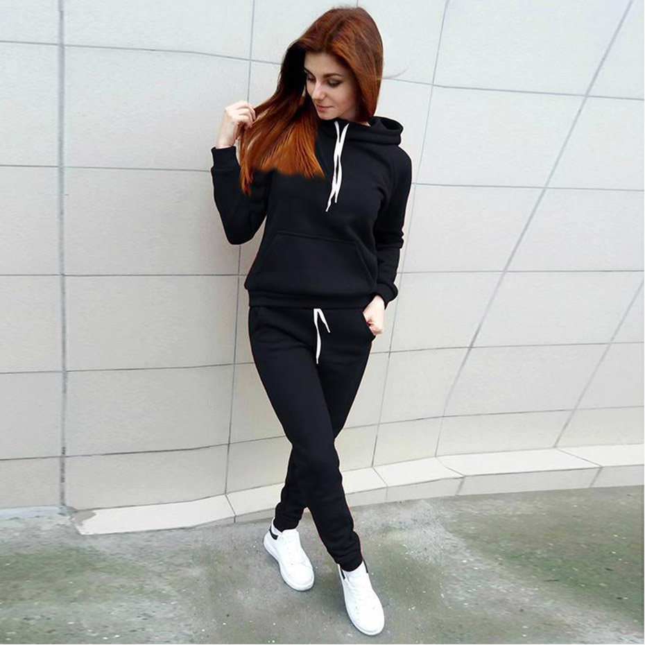 ZOGAA 2019 Casual Women 39 s Tracksuit Two Piece Set Women Outfits Fleece Large Pocket Hooded Pullover Sweat Suits Women in Women 39 s Sets from Women 39 s Clothing