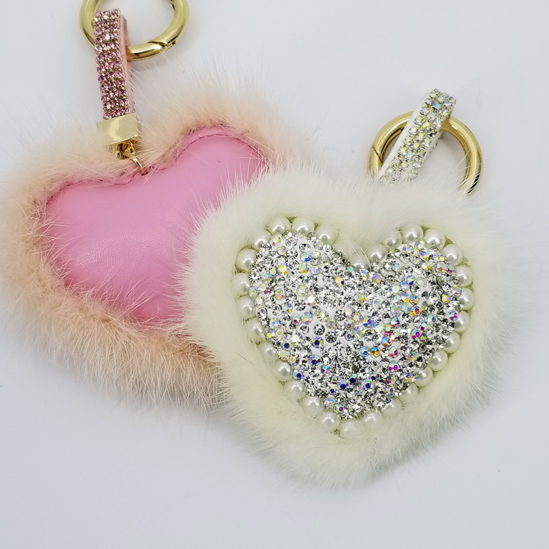 100Pcs/Lot Heart Pompom Keychains Mink Hair Fluffy Ball Keyring Jewelry Pendant for Bags Decoration Charming Gifts Boutique Shop