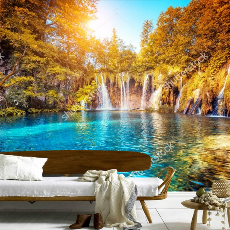 Custom natural scenery wallpaper,Sunshine Tree Falls,3D photo mural for the living room bedroom dining room wall wallpaper custom 3d mural wallpaper european style painting stereoscopic relief jade living room tv backdrop bedroom photo wall paper 3d