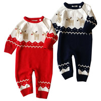 New Fashion Newborn Winter Outerwear Baby Rompers Warm Cotton Christmas Deer Infant Baby Girl Boy Clothe Thickening Jumpsuit #ES