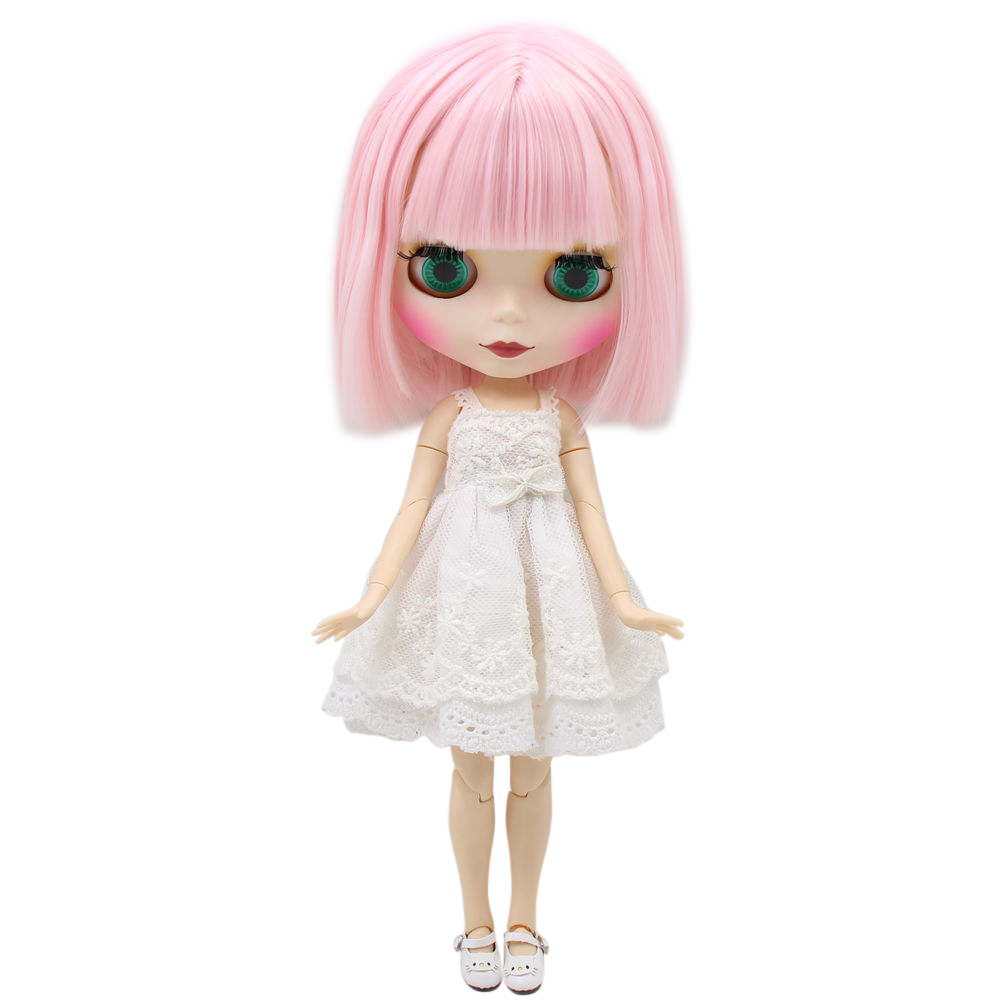 ICY Blyth Nude Doll For Series No BL1096 pink hair with bangs Matte face Joint body