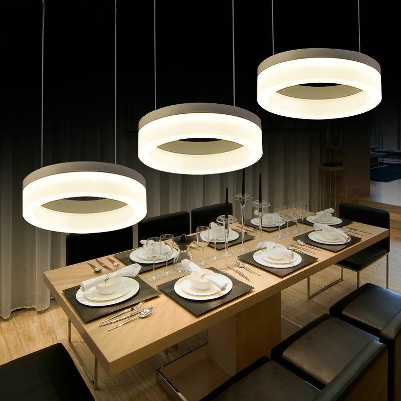 US $126.0 28% OFF|3 Light Pendant Lighting Modern Hanging Light Fixture  Kitchen Island Hanging Lamp 3 Rings Dining Room Lighting-in Pendant Lights  ...